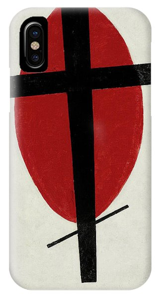 Russian Impressionism iPhone Case - Mystic Suprematism - Black Cross On Red Oval, 1920-1922 by Kazimir Malevich