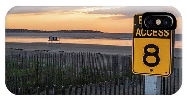 Nahant Sunrise Beach Access 8 Nahant Ma Nahant Beach Yellow Sign IPhone Case