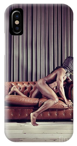 Naked Man With Mask On A Sofa IPhone Case
