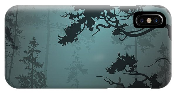 Imagery iPhone Case - Natural Background With Pine Forest And by Eva mask