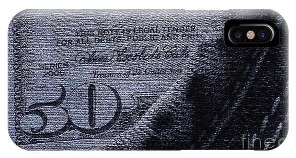 Guess iPhone Case - Navy Blue Denim And Money by Dezigners Agency