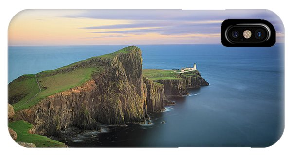 IPhone Case featuring the photograph Neist Point Lighthouse On Skye At Sunset by IPics Photography