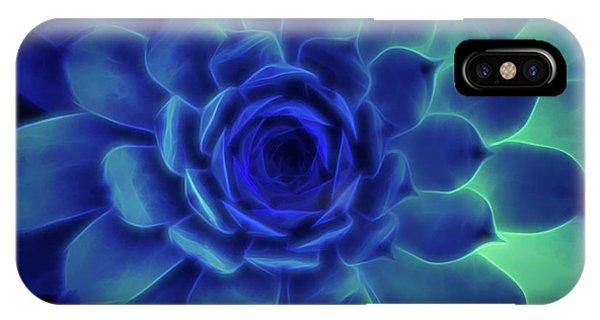 Neon Blue Sempervivum IPhone Case