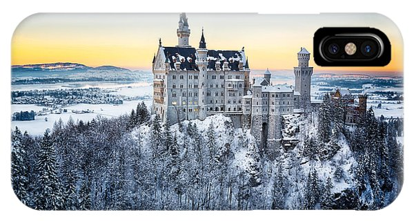 Fairy Tales iPhone Case - Neuschwanstein Castle At Sunset In by Frank Fischbach