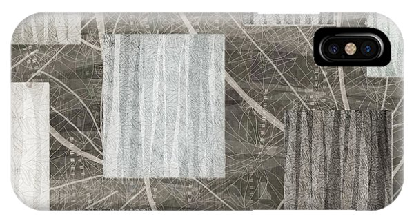 Neutral Leaf Print Squares Cream IPhone Case