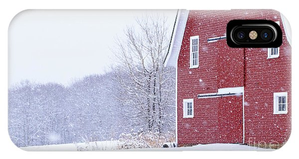 New England Barn iPhone Case - New England Snowstorm Red Barn by Edward Fielding