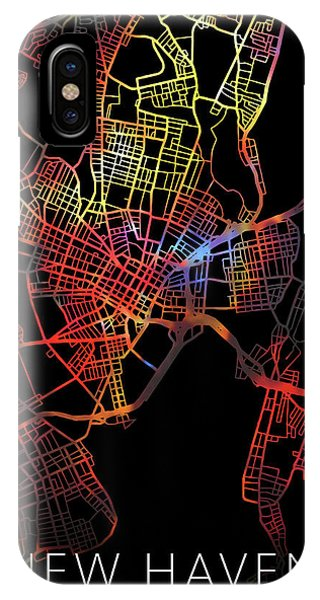 Haven iPhone Case - New Haven Connecticut City Watercolor Street Map Dark Mode by Design Turnpike