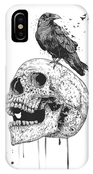 Raven iPhone Case - New Skull by Balazs Solti