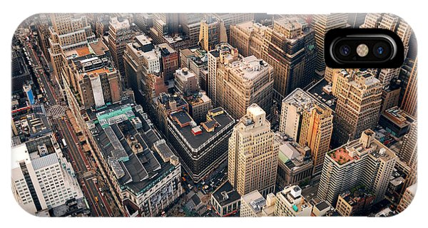 Office Buildings iPhone Case - New York City Manhattan Aerial Skyline by Songquan Deng