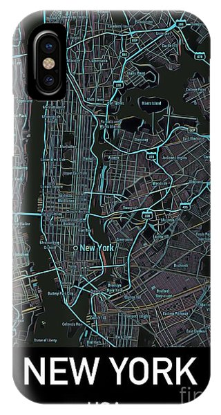 New York City Map Black Edition IPhone Case