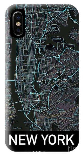 New York City Map Black Edition IPhone Case