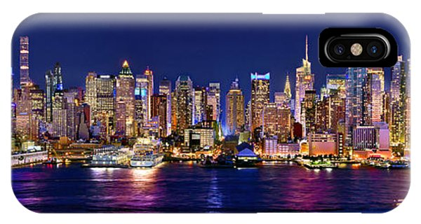 Panoramic iPhone Case - New York City Nyc Midtown Manhattan At Night by Jon Holiday