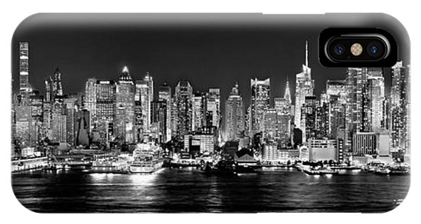 Skyline iPhone Case - New York City Nyc Skyline Midtown Manhattan At Night Black And White by Jon Holiday