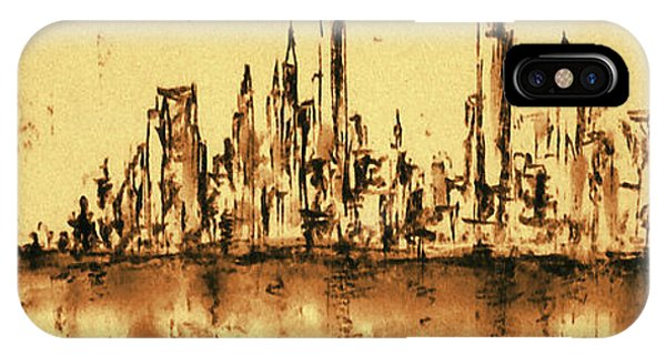 New York City Skyline 79 - Water Color Drawing IPhone Case