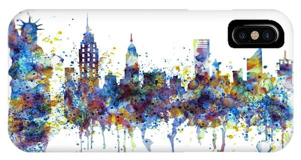 Manhattan Skyline iPhone Case - New York Watercolor Skyline by Marian Voicu