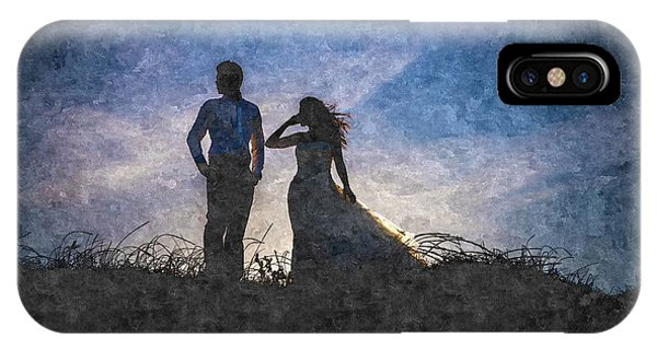 Newlywed Couple After Their Wedding At Sunset, Digital Art Oil P IPhone Case