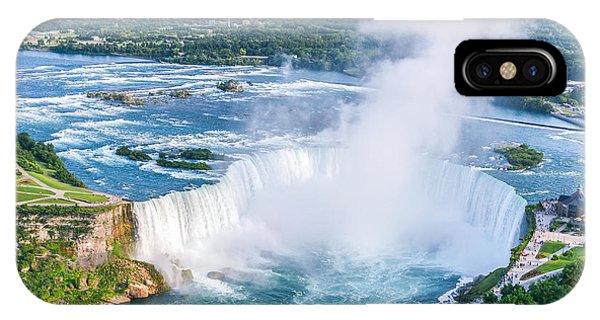 River Flow iPhone Case - Niagara Falls Aerial View, Canadian by Cpq