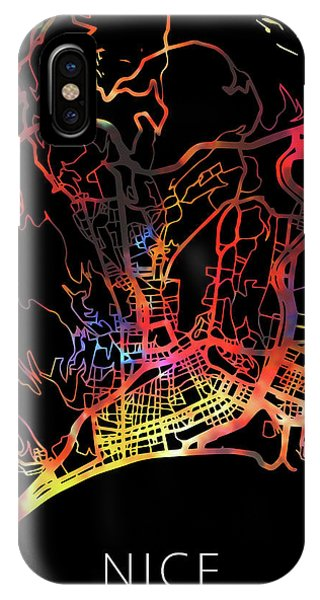 French iPhone Case - Nice France City Watercolor Street Map Dark Mode by Design Turnpike