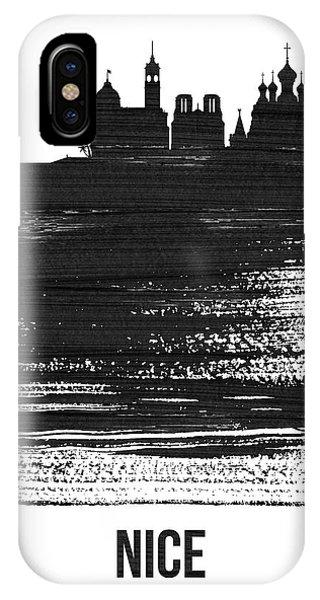 Nice iPhone Case - Nice Skyline Brush Stroke Black by Naxart Studio