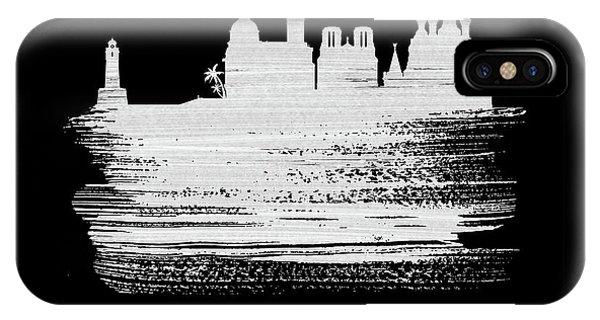 Nice iPhone Case - Nice Skyline Brush Stroke White by Naxart Studio