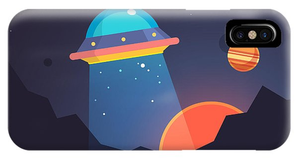 Beam iPhone Case - Night Alien World Landscape And Ufo by Iconic Bestiary
