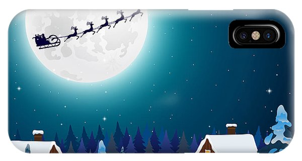 Santa Claus iPhone Case - Night Christmas Forest Landscape. Santa by Paola Crash