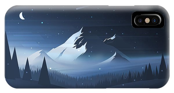 Freeze iPhone Case - Night Mountain Winter Landscape. Vector by Dmod