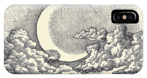 Cloudscape iPhone Case - Night Sky Vector, Moon In The Clouds by Danussa