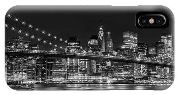 Downtown iPhone Case - Night-skyline New York City Bw by Melanie Viola