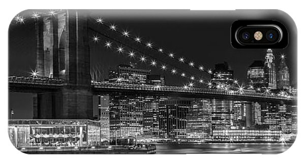 Skyscraper iPhone Case - Night-skyline New York City Bw by Melanie Viola