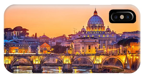 Dusk iPhone Case - Night View At St. Peters Cathedral In by S.borisov