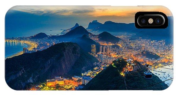 South America iPhone Case - Night View Of Copacabana Beach, Urca by F11photo