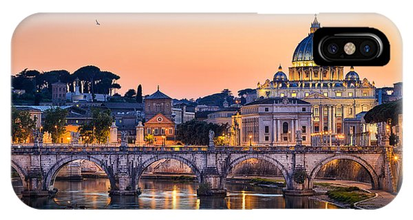 Dome iPhone Case - Night View Of The Basilica St Peter In by Mapics
