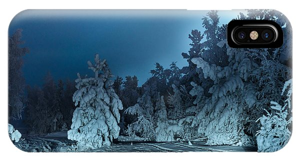 Full Moon iPhone Case - Nightly Landscape With Fir Forest Snow by Polina Petrenko