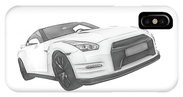 Nissan iPhone Case - Nissan Gt-r Front Side Profile Digital Sketch by Rick Deacon