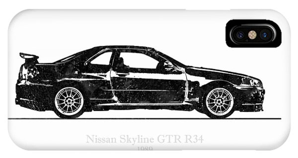 Nissan iPhone Case - Nissan Skyline Gt-r R34 1989 Black And White Illustration by JESP Art and Decor