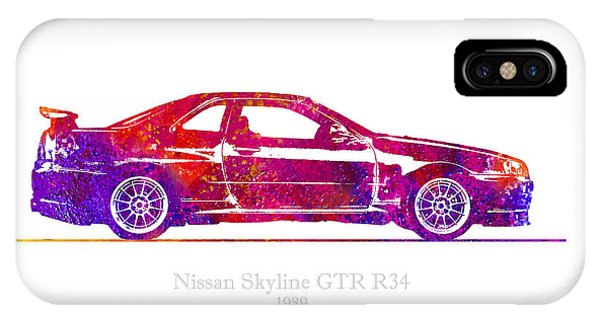 Nissan iPhone Case - Nissan Skyline Gt-r R34 1989 Watercolor Illustration by JESP Art and Decor
