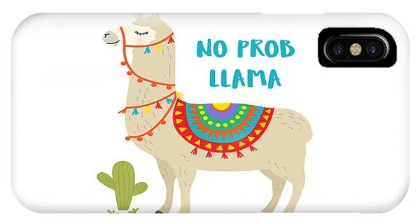 No Prob Llama - Baby Room Nursery Art Poster Print IPhone Case