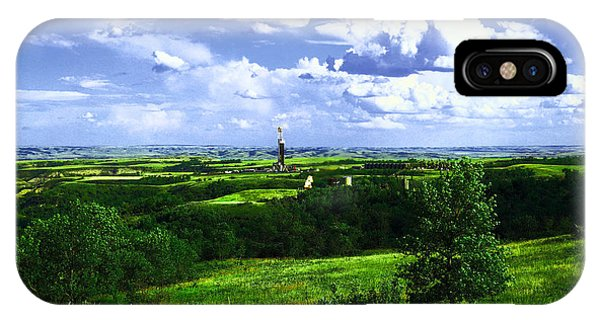 North Dakota Badlands iPhone Case - North Dakota Landscape And An Oil Rig by Jeff Swan