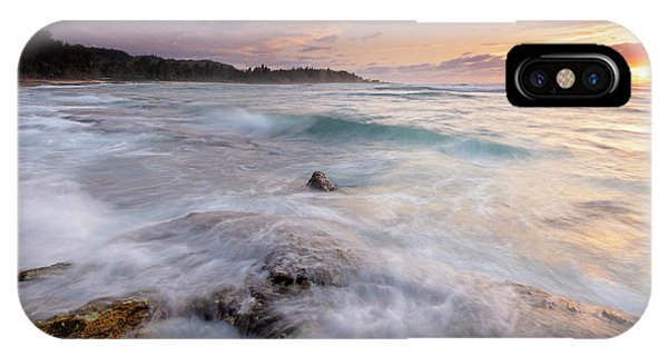 Drain iPhone Case - North Shore Sunset Surge by Mike Dawson
