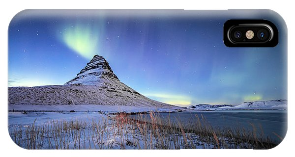 IPhone Case featuring the photograph Northern Lights Atop Kirkjufell Iceland by Nathan Bush