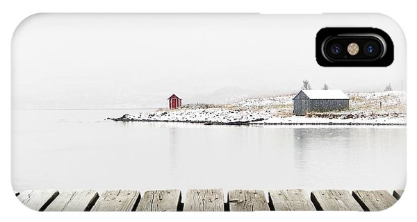 Swedish iPhone Case - Norway Cottage On Winter Coast With by Michal Bellan