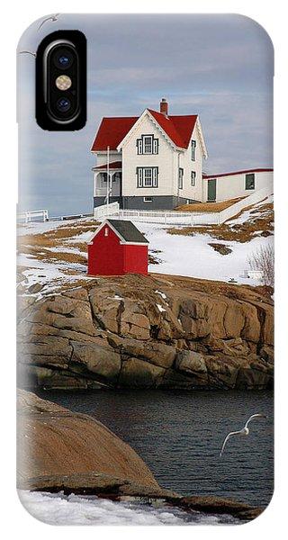Nubble Light iPhone X Case - Nubble Light - Cape Neddick Lighthouse Seascape Landscape Rocky Coast Maine by Jon Holiday