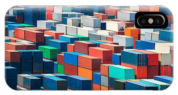 Container iPhone Case - Numerous Shipping Containers In Port by Chuyuss
