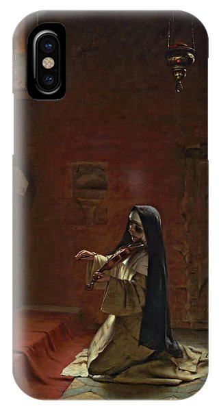 Yule iPhone Case - Nun Playing On A Violin by Friedrich Kaulbach