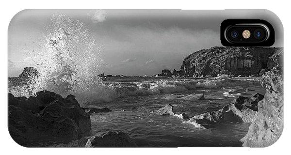 Carribbean iPhone Case - Ocean Splash In Black And White by Betsy Knapp