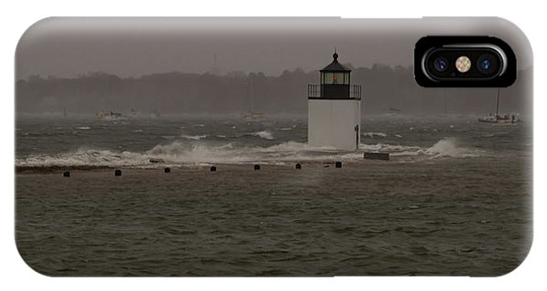 October Storm At Derby Wharf Lighthouse IPhone Case