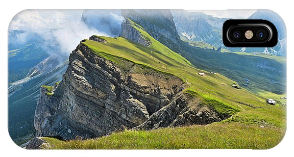 Alpine Meadows iPhone Case - Odle Mountains Chain Separating The by Angelo Ferraris