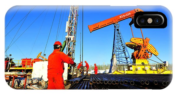 Technology iPhone Case - Oil Field Oil Workers At Work by Qiuju Song