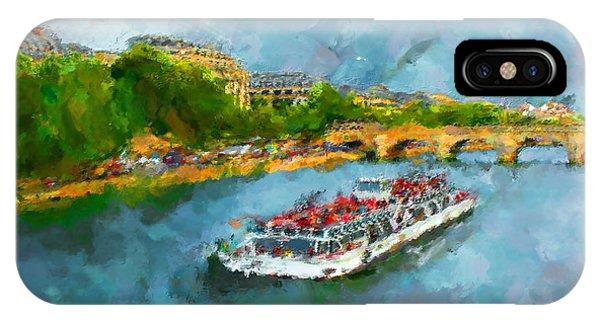 Modern iPhone Case - Oil Paint Paris Seine Boat by Trentemoller